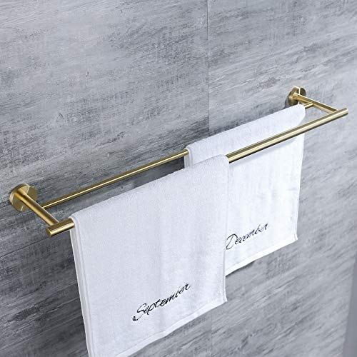 Hoooh Double Bath Towel Bar 30-Inch Stainless Steel Hand Towel Rack for Bathroom Wall Mount Brushed Gold, - Brass Bar Hanging