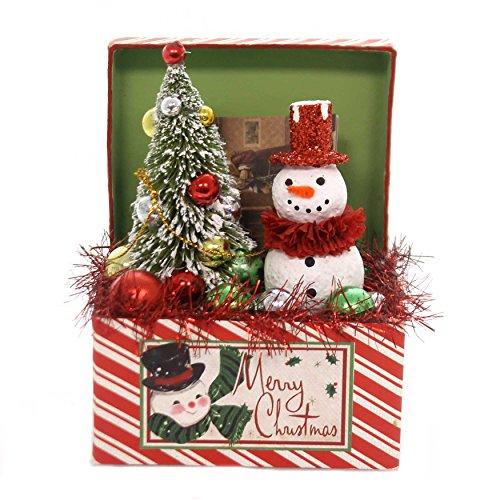 Christmas Retro Snowman Trunk Polyresin Tree Box Tl7816