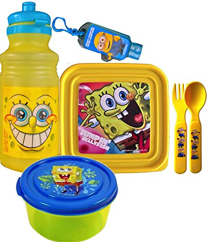 Spongebob Squarepants Survival Kit Lunch,Includes Pull-top Water Bottle , Sandwich Container, 1 Round Snack Container, Minions Fork and Spoon with Handy Clip on Hand (Spongebob Squarepants Water)
