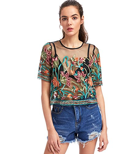 MAKEMECHIC Women's Embroidered Applique Sheer Mesh Blouse Top 2-Multicolor L
