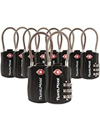 10 Pack TSA Approved Travel Combination Cable Luggage Locks for Suitcases - Orange (10 Pack, Black)