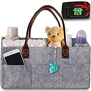 Baby Diaper Caddy Organizer – Nursery Basket with Convenient Leather Handles Makes Perfect Baby Shower Gift – Durable, Portable Changing Table Diaper Storage + Bonus Insulated Wipe Carrier by Cartik