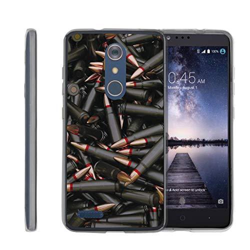 TurtleArmor | Compatible for ZTE ZMax Pro Case | ZTE Blade X Max Case [Flexible Armor] Slim Fitted Flexible TPU Case Bumper Skin Cover Military War Army Camo Design - Black Bullets