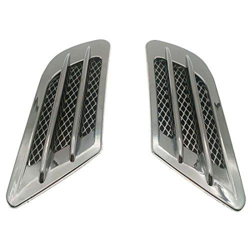 ZYHW 2Pcs Chrome Tone Universal Self-adhesive Air Flow Vent Fender Side Decor Sticker for Car