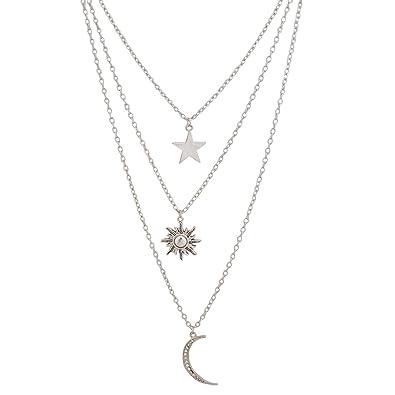 50cd2a5cff00a Jane Stone Collier Pendentif Long Sautoir Original Multi-Rangs Plaqué  Argent Fantaisie Soleil Lune Étoile