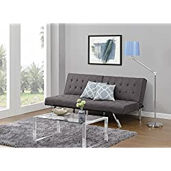 DHP Emily Futon Sofa Bed, Modern Convertible Couch With Chrome Legs Quickly Converts into a Bed, Rich Grey Linen
