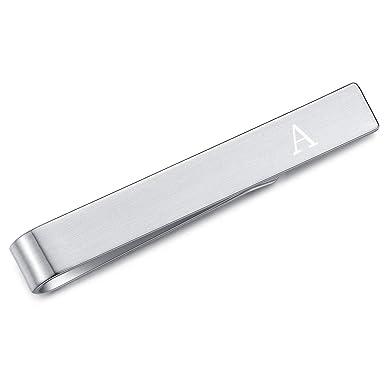 HONEY BEAR Skinny Clip Pasador de Corbata -Carta Inicial Alfabeto para Hombre/Chicos Necktie, Acero Inoxidable,Boda Negocio Regalo,4cm,Cepillado Plata