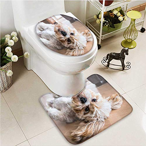 (Printsonne 2 Piece Bathroom Contour Rugs pet dog Non Slip Comfortable Snd)