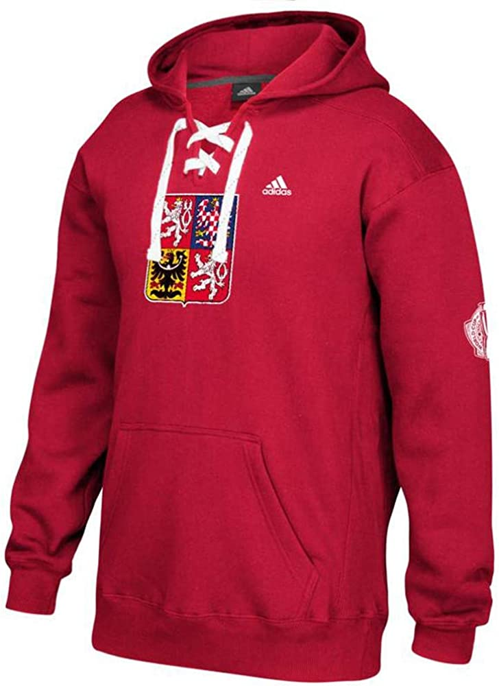 adidas Czech Republic World Cup of Hockey NHL Men's Red Distressed Team  Logo Lace-Up Pullover Hoodie