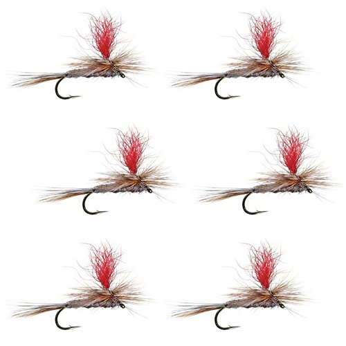Parachute Flies Trout (The Fly Fishing Place Hi-Visibility Parachute Adams Classic Trout Dry Fly Fishing Flies - Set of 6 Flies Size 12)
