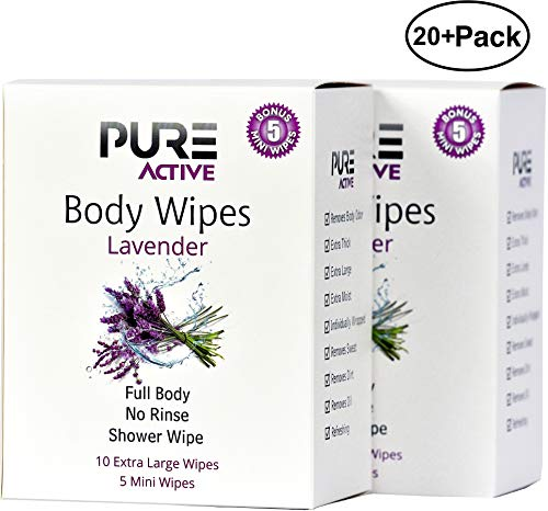 Shower Body Cleansing Wipes - New Pure Active Lavender 20 XL+10 Mini Individually Wrapped Personal Hygiene Wipes for Women Perfect Solution to Keep Clean After Gym Travel Camping Outdoors Sports