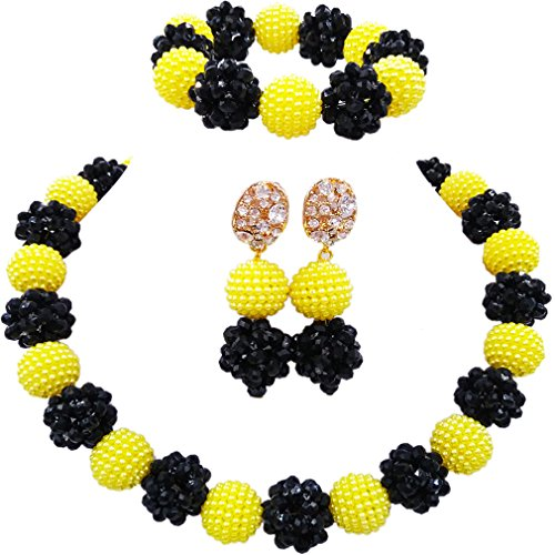 aczuv Simulated Pearl and Crystal Ball Beaded Necklace Jewelry Set African Wedding Beads (Yellow Black)