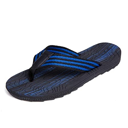 cfbb7651f1e06 QAR Flip-flop Summer Men s Beach Shoes Soft Bottom Non-slip Slippers Couple Shoes  flip flop (Color   Black blue