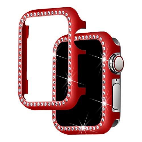 (Falandi for Apple Watch Case 42mm, Apple Watch Face Case with Bling Crystal Diamonds Plate iWatch Case Cover Protective Frame for Apple Watch 44mm 42mm Series 3/2/1 (Red-Diamond, 42mm))