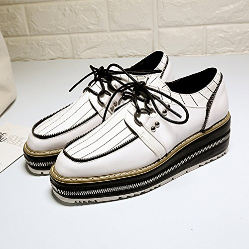 Low Toe White Shoes Lace JULY Round up T Fashion Comfortable Shoes Women's Oxfords Heel Casual S68wPR