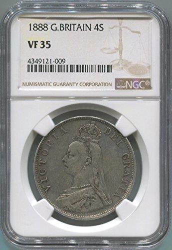 1888 UK 4 Shillings Double Florin VF35 NGC
