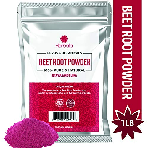 Beet Root Powder, 1 lb, Concentrated Beet Powder, Raw, Natural Nitric Oxide Booster, Circulation, Energy, 100% Pure Beet Root Juice Powder, Non-GMO (454g)
