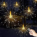 Queta LED Fairy Light String With Remote Control Outdoor Christmas Lights Battery Powered, Explosion Fireworks Hanging Decoration Christmas Decoration, Warm White (120 Lights)