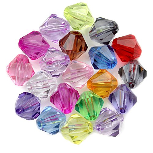 100Pcs DIY Art Rhombic Crystal Faceted Hole Beads For Kids Craft Beads Jewelry Making Kit Mixed color 12mm