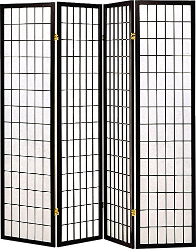 4-Panel Folding Screen Black and White (Chinese Wall Partition)