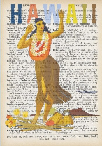 Hawaiian Hula Dancer Vintage Dictionary Artwork Notebook: 7 x 10 inch Vintage Travel Poster Inspired Notebook/Journal