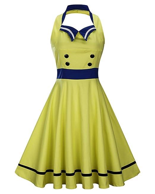 Mujeres Vintage Tallas Grandes Vestidos De Fiesta Sin Respaldo Vestido De Coctel Sin Mangas Amarillo S