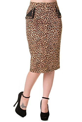 Banned Apparel–Tori leopardo Rockabilly falda de la mujer