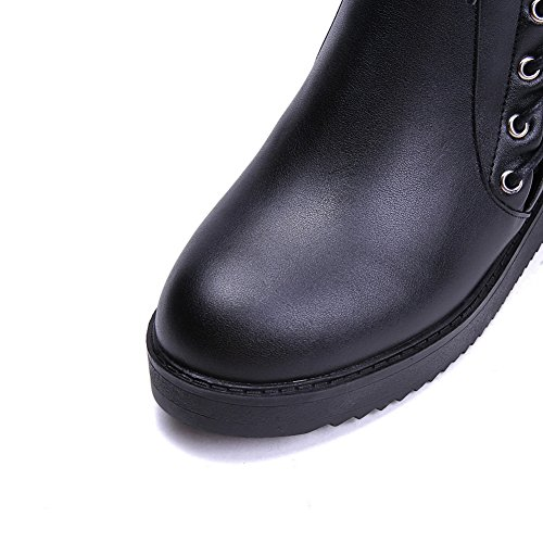 AmoonyFashion Womens Pointed Toe Closed Toe Kitten-Heels Boots With Bandage Black g5DciYoS