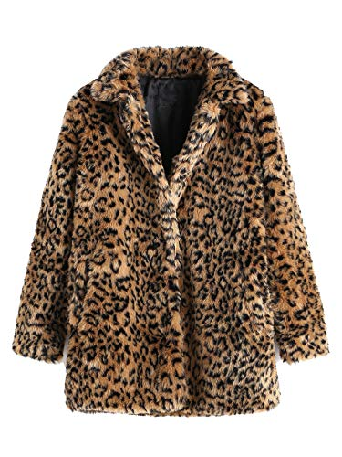 SweatyRocks Women Khaki Hooded Dolman Sleeve Faux Fur Cardigan Coat for Winter (Large, Leopard) Leopard XS