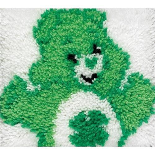 Pillow Hook Latch Bear (Care Bear Latch Hook Kit 12 Inch X12 Inch -Good Luck Bear/Green)