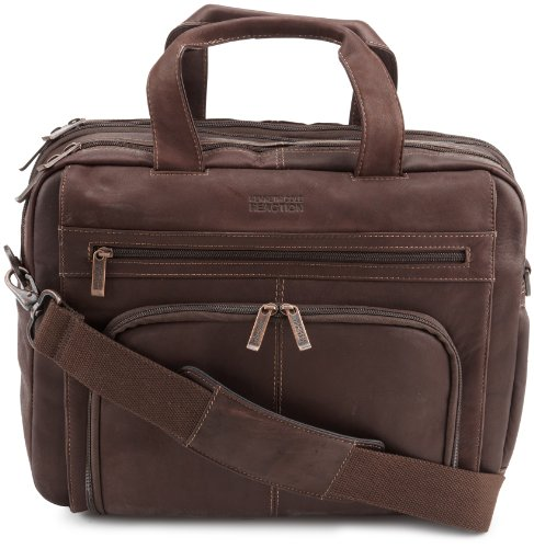 Kenneth Cole Reaction ''Out Of The Bag'' Colombian Leather Double Compartment Expandable Top Zip Portfolio/Computer Case/  Fits Most 15.4'' Laptops, Brown, One Size by Kenneth Cole REACTION