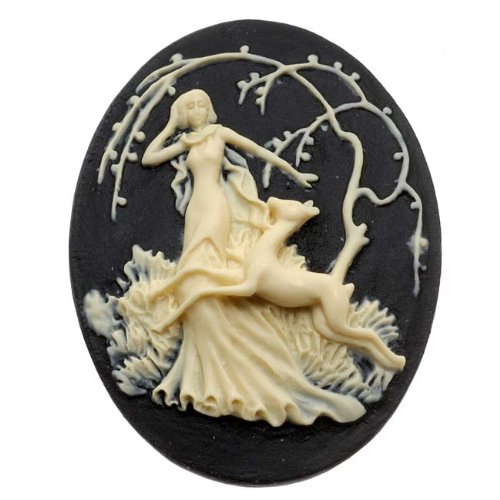 (Beadaholique Lucite Oval Cameo - Black with Ivory Art Deco Lady of The Forest 40x30mm (1))