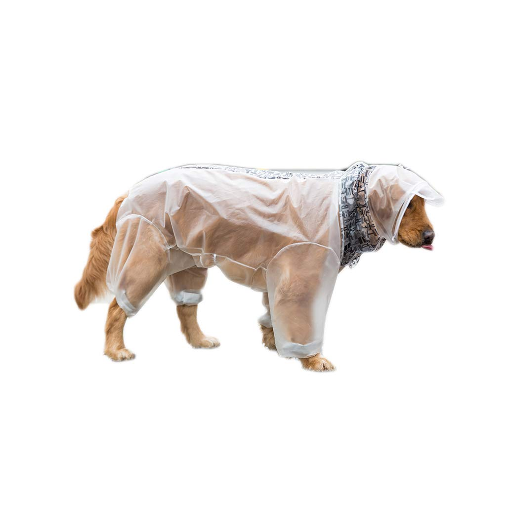 WLcute Dog Raincoat Frosted Transparent Four-Legged Waterproof All-Inclusive Large Dog,White,XXL