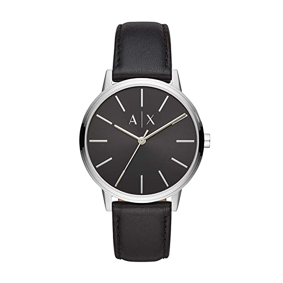 Amazon.com: Armani Exchange Mens Cayde Stainless Steel Analog-Quartz Watch with Leather Strap, Black, 20 (Model: AX2703: Armani Exchange: Watches