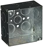 Hubbell-Raco 8231 Welded 2-1/8-Inch Deep Square Electrical Box with (8) 3/4-Inch Side Knockouts, 4-Inch