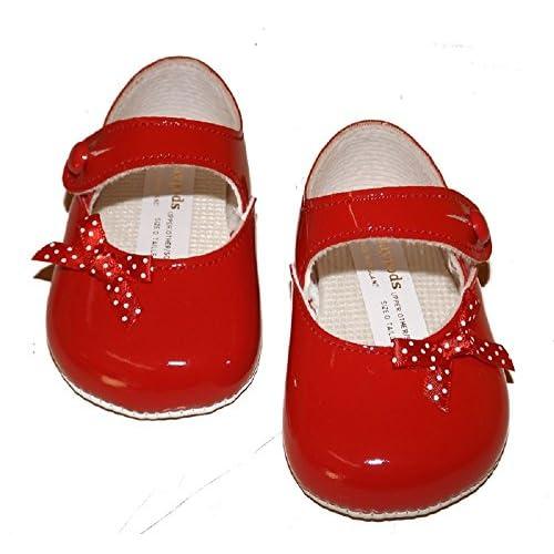 Baypods bp613bébé fille Chaussures ROUGE brevet Chaussures avec nœud Motif à pois et fermeture bouton. Disponible à vous par Mellow être Age 6–12mois