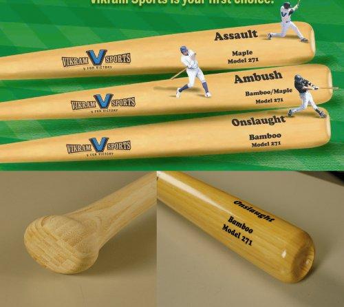 ught Bamboo Baseball Bat (Model 271) 34 inch 31 OZ (-3) by Vikram Sports at Factory Direct Price (Bamboo Hybrid Baseball Bat)