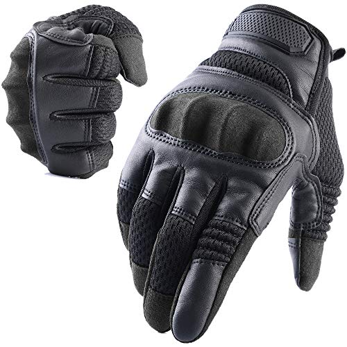 AXBXCX Tactical Gloves Military Motorcycle Touch Screen Plastic Hard Knuckle Full Finger Outdoor Gloves for Camping Cycling Combat Training Army Shooting Motorbike Hunting Airsoft Paintball Black L ()
