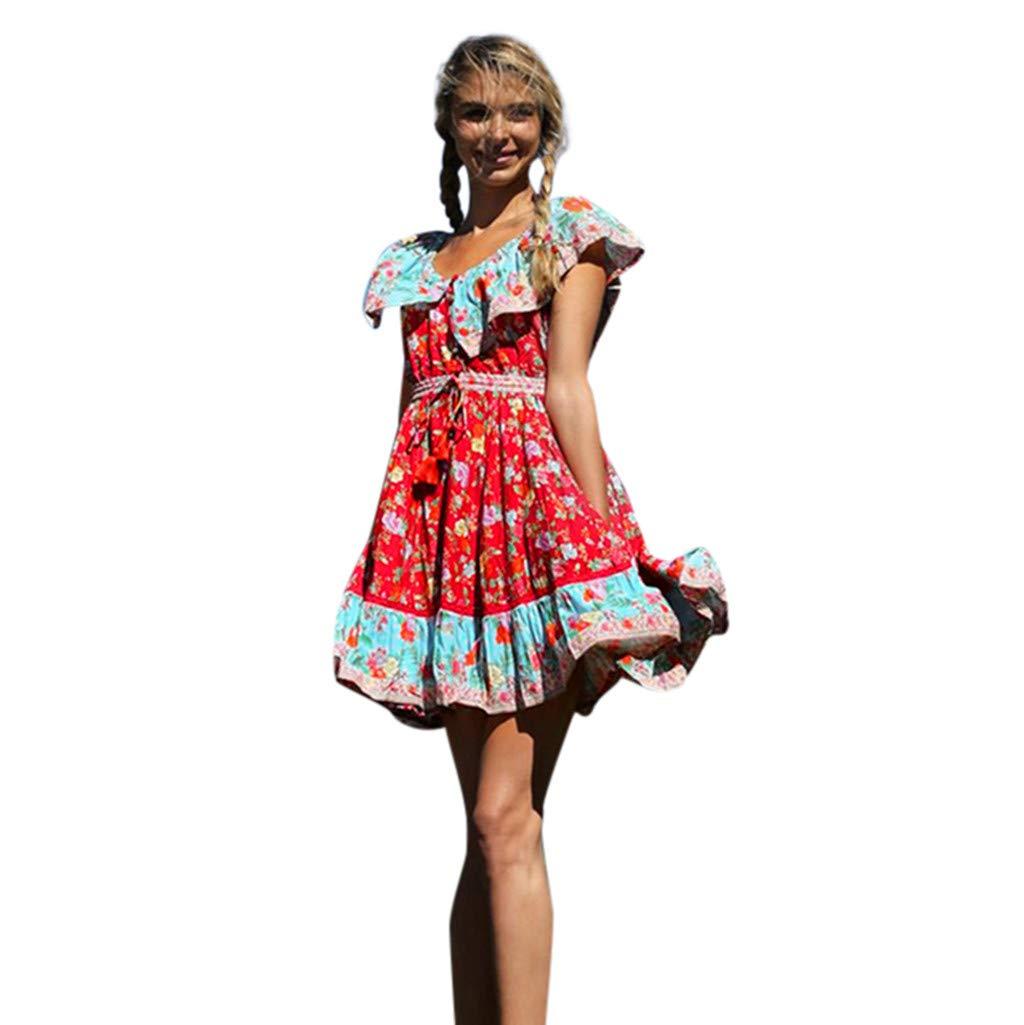 ZOMUSAR 2019 Dress, Women's Summer Fashion Printed Waist V-Collar Chiffon Beach Dresses Red