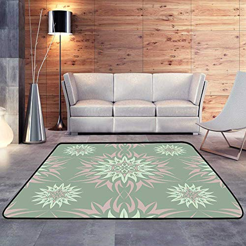 """Rugs,Olive Green Floral with Flower designsW 71"""" x L81.5 Floor Mat for Toilet Non Slip"""