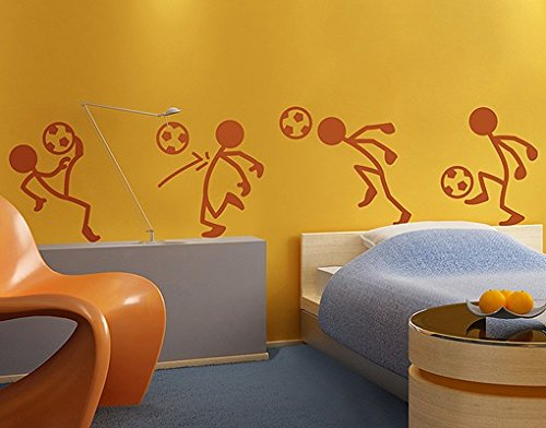 Wall Decal no.RS99 Stick Figures Soccer | wall tattoo wall tattoos wall stickers | Color: Gold; Dimensions: 42.5 x 128 inches by apalis