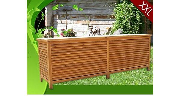 Baúl de almacenaje (madera maciza, XXL, 170 cm: Amazon.es: Jardín