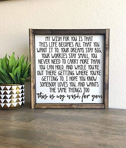 CELYCASY My Wish for You | Rascal Flatts | Framed Wood Sign from CELYCASY