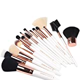 ZOREYA 15 Piece Rose Gold Makeup Brush Set with Luxury Makeup Brushes and Leather Brush Holder Case (Misc.)
