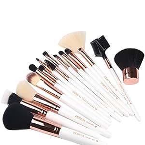 Makeup Brushes ZOREYA 15 Piece Makeup Brush Set Rose Gold Kit with Leather Case Bag Cosmetic Contour Lip EyeShadow Powder Blending Fan Brush