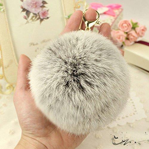 bea85b34a714 WannaBi Gold Plated Keychain Cute Fur Ball Pom Pom Keychain for Car Key  Ring Handbag Tote