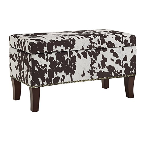 Binche Brown Cow Print Bench/Ottoman (Print Ottoman Cow)