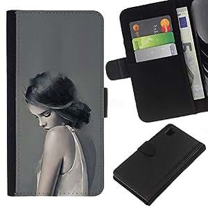 All Phone Most Case / Oferta Especial Cáscara Funda de cuero Monedero Cubierta de proteccion Caso / Wallet Case for Sony Xperia Z1 L39 // Woman Lady Sad Feminine Grey Deep
