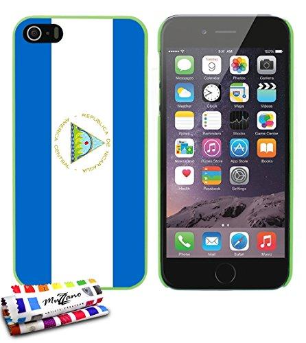 Ultraflache weiche Schutzhülle APPLE IPHONE 5S / IPHONE SE [Flagge Nicaragua] [Grun] von MUZZANO + STIFT und MICROFASERTUCH MUZZANO® GRATIS - Das ULTIMATIVE, ELEGANTE UND LANGLEBIGE Schutz-Case für Ih