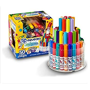 Crayola Pip-Squeaks Washable Markers, Telescoping Marker Tower, 50 count, Great for Home or School, Art Tools